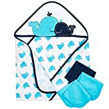 Gerber 4-Piece Hooded'26 x 30' Towel and 9'x 9' Washcloth Set, Whale