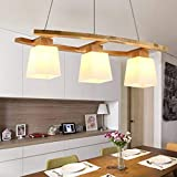 ZMH Lampe suspension rustique lampe de table à manger en bois Lampe...