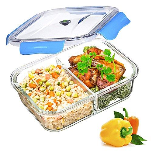 SELEWARE Vidrio Contenedor Alimentos Hermetico - Recipientes Comida Cristal Microondas -...