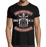 T-Shirt Moto Premium Noir Les Vrais mecs Font de la Harley Davidson idée Cadeau Motard (L)