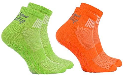 Rainbow Socks - Donna Uomo Sportive Calze Antiscivolo ABS di Cotone - 2 Paia - Naranja Verde - Tamao 39-41