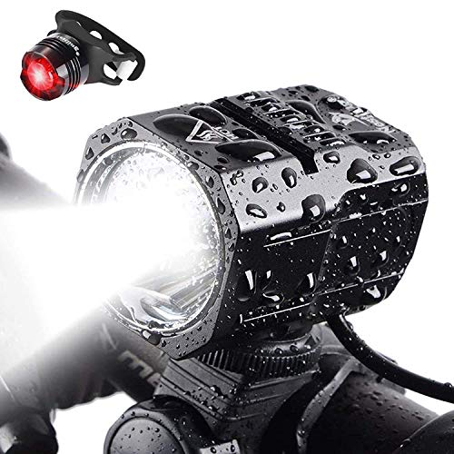 Nestling Luci per Bicicletta,Luci LED per Bicicletta Ricaricabili USB, 2400 Lumen Luce Bici, Quattro...