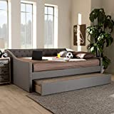 Baxton Studio Haylie Modern and Contemporary Light Grey Fabric Upholstered Full Size Daybed with Roll-Out Trundle Bed