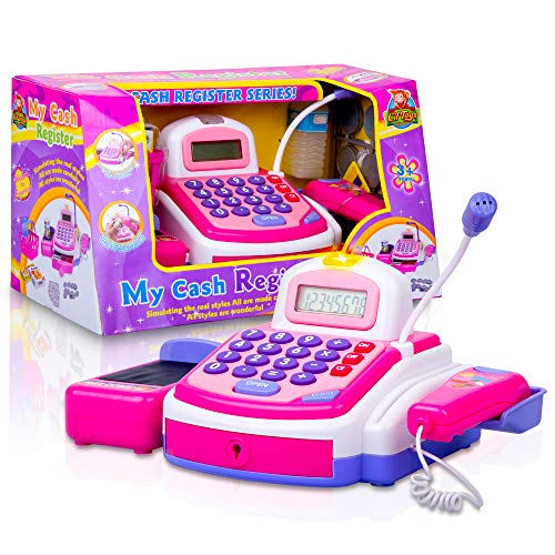 CifToys Cashier Toy Cash Register Playset | Pretend Play Set for Kids | Colorful Childrens Supermarket Checkout Toy with Microphone & Sounds | Ideal Gift for Toddlers & Pre-Schoolers