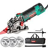 """Mini Circular Saw, HYCHIKA Compact Circular Saw Tile Saw with 3 Saw Blades 4A Pure Copper Motor, 3-3/8""""4500RPM Ideal for Wood, Soft Metal, Tile and Plastic Cuts, Laser Guide, Scale Ruler"""