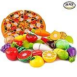 Tocone Alimentos de Juguete Cortar Frutas Verduras Pizza Cocina Juguete Temprano Desarrollo Educación Juguete de Corte para Bebé Niños de 3 o más años (26 Piezas)