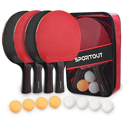 Tischtennisschläger Set, 4 Tischtennis-Schläger + 8 Tischtennisbälle Tischtennis Schläger Set mit Tasche Profi Sport Set für Indoor & Outdoor Spiele