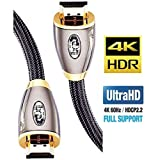 IBRA RED Range HDMI A Male to A Male Cable: Supports Ethernet, 3D, 4K@60Hz video and Audio Return Channel (ARC) Connects Blu-ray players, Fire TV, PS4, PS3, XBox one, Xbox 360, computers and other HDMI-enabled devices to TVs, displays, A/V receivers ...