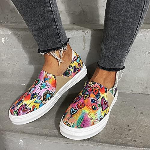 HHZY Alpargatas Cómodo Mujer Sandalias Planas con Estampado de Corazón Sandalias de Playa Tie Dye Mocasines Transpirables de Moda de Verano Zapatos para Caminar,Púrpura,US11/EU42