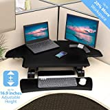 Seville Classics airLIFT Height Adjustable Stand Up Desk Converter/Riser - Keyboard Tray, Dual Monitors, Quick Lift Levers Ergonomic Table, Corner (43'), Black