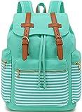 Girls School Backpack Women Canvas Backpacks Lady Vintage Travel Rucksack 15.6Inch Laptop Bag (Blue Stripe)