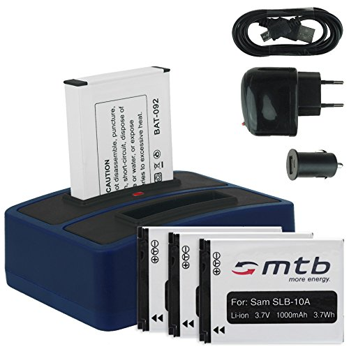 4x Batteria + Caricabatteria doppio (USB/Auto/Corrente) per Samsung SLB-10A / Toshiba Camileo X-Sports/JVC Adixxion/Silvercrest/Medion Action Cam. v. lista