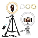 10' Selfie Ring Light with 50' Extendable Tripod Stand & Flexible Phone Holder for Live Stream/Makeup, UBeesize Mini Desktop Led Camera Ringlight for YouTube Video, Compatible with iPhone/Android