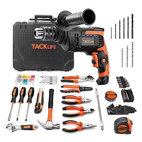 TACKLIFE Elektrowerkzeug-Set, Bohrhammer 800W & Werkzeugkoffer, 145-teiliges Zubehör, Werkzeugkasten für die Reparatur und Dekoration im Haushalt - THTK01A