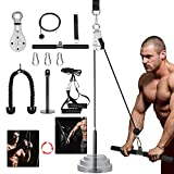 3 in 1 Pulley Cable, 2M Home Cable Pulley System, Fitness Pulley System,Gym Equipment for Home, with Straight Bar, Band Handles Grips, Nylon Tricep Rope, 3parts Acessories Exchange Use for Home Gym