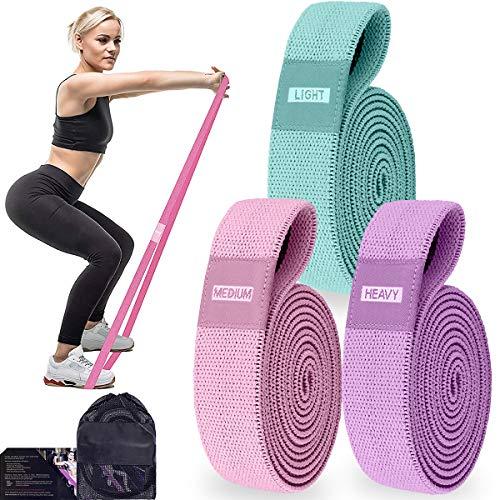 Bande elastiche fitness lunghe in tessuto, pull up bands 3 fasce per esercizi, elastici Yoga per lo sport e allenamento completo di tutto il corpo.