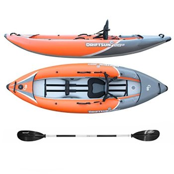 Driftsun Rover 120 Inflatable White-Water Kayak Inflatable Kayak with High Pressure Floor, EVA Padded Seats, High Back Support/Includes Action Cam Mount, Aluminum Paddles, Pump