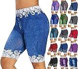 XBACKIYX Plus La Taille Femmes Taille Haute Jeans Courts Denim Stretch Short Jean Look Pantalon