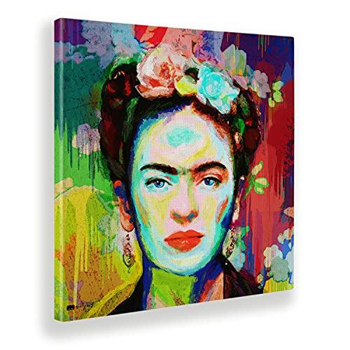 Giallobus - Cuadro ya Enmarcado - Impresion en Lienzo - Frida - Pinturas Modernas en Lienzo para decoración casa diseño - Cocina - Varios Tamaños XXL - 70x70 cm