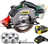 POPOMAN Cordless Circular Saw, 4300 RPM, 20V 4.0Ah Battery, Fast Charger, 2 x...