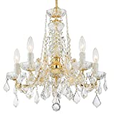 Maria Theresa 5 Light Clear Crystal Gold Mini Chandelier