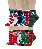 12 Pairs Pack Kids Girls Colorful Creative Fun Novelty Design Crew Socks (6-8, Christmas)