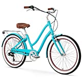 sixthreezero EVRYjourney Women's 7-Speed Step-Through Hybrid Cruiser Bicycle, 24' Wheels and 14' Frame, Teal with Brown Seat and Grips (630111)