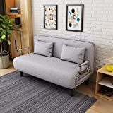 Convertible Sofa Couch Futon with Fold Up Bed and Adjustable Backrest,Recliner Couch Soft Futon Chaise Mattress for Sleeper with Arm Chair (Gray)