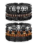 sailimue 8 Pcs Bracelet en Cuir Corde pour Hommes Femmes Bracelet Perle Unisexe...