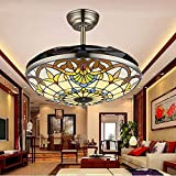 COLORLED Colorful Craftmade Brown Ceiling Surface-mount Ceiling Fans 42-Inch Transparent Acrylic Blade Fan Chandelier Lamp for Bedroom, Living and Dining Room Lighting Fixture