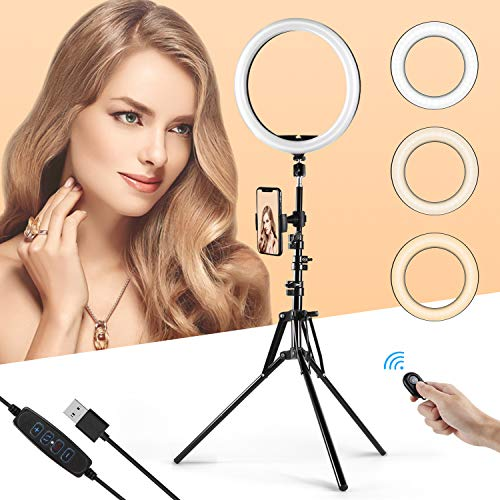 KinCam 12' LED Ring Light with Tripod Stand Phone Holder for Live Stream YouTube,3 Light Modes and 10 Brightness Level Circle Light with Romote Compatible with iPhone and Android
