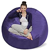 Sofa Sack - Plush Ultra Soft Bean Bags Chairs for Kids, Teens, Adults - Memory Foam Beanless Bag Chair with Microsuede Cover - Foam Filled Furniture for Dorm Room - Purple 5'
