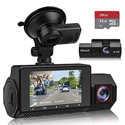 Abask Dash Cam Doppia Telecamera per Auto, 4K Dash Cam Frontale e 1080P Cabina Cam, Grandangolare di 310°, G-Sensor, Registrazione in Loop, Monitor di Parcheggio, Scheda SD da 32 GB inclusa