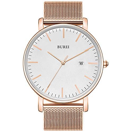 BUREI Herren Uhren Ultra Dünne Roségold Minimalistische Quartz mit Datumsanzeige