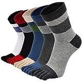 PUTUO Chaussettes avec Orteils Homme Chaussettes Doigts de Pied Séparés, Homme Chaussettes de Sport et d'affaire en Coton, EU 39-44 (Multicolore-5 paires)