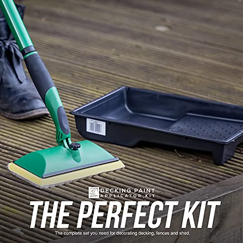 Decking Oil Applicator Kit that Includes a Decking Pad, Paint Tray and 120cm Multi-Section Metal Handle − 3 in 1 Decking Applicator Set for Fence, Shed, and Wooden Surfaces