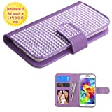 Case+Stylus Fits Universal Apple iPhone LG Samsung etc. Yuga Diamond PU Leather MyJacket Wallet - Purple Small with Credit Card Slot (Display Size of 4.0-'4.7'). Fits The Following Models: