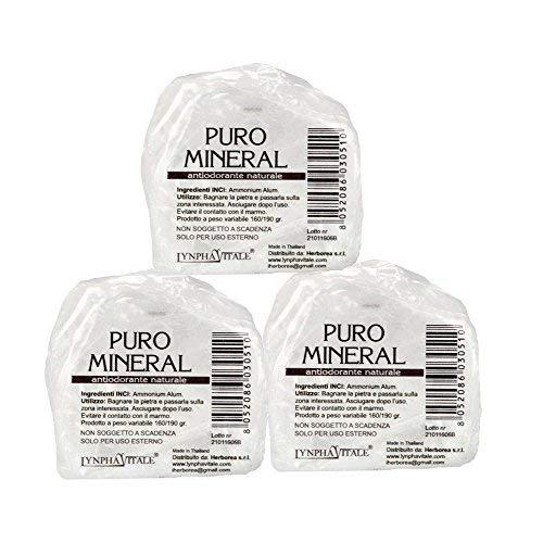 Deodorante naturale in allume di ammonio – Kit Pietre Grezze Antiodorante da 500/525 gr (da 3-5 Pietre) - Allume di potassio Puro Mineral - Deo Antiodore e Traspirante - Il Sale della Terra