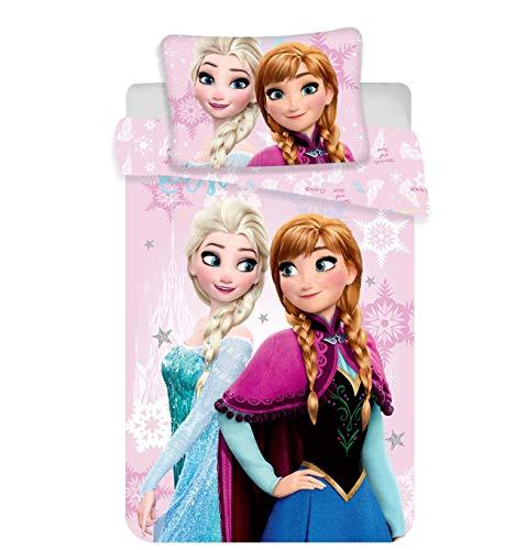 JERRY FABRICS - Set di biancheria da letto Disney Frozen, in cotone, multicolore, dimensioni: 40 x...