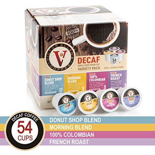 Decaf Donut Shop, Morning Blend, 100% Colombian, and French Roast Variety Pack for K-Cup Keurig 2.0 Brewers, 54 Count, Victor Allens Coffee Medium Roast Single Serve Coffee Pods