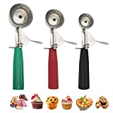 Cookie Scoop Set, Ice Cream Scoop with Trigger, Multiple Size Large-Medium-Small Size Professional 18/8 Stainless Steel Cupcake Scoop