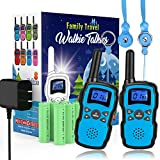 Wishouse Rechargeable Walkie Talkies for Kids with Charger Battery,Family Two Way Radio Long Range,Outdoor Game Camping Spy Amy Police Toy,Birthday Party Gift for 4 5 6 7 8 9 10 Year Old Girl Boy Blue