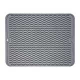 ZLR Dish Drying Mat, Multiple Usage Silicone Dish Drying Mat, Easy to Clean Drying Mat for Kitchen Counter, Grey, 12 inches x 15.8 inches, Large