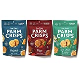 ParmCrisps Snack 3 Pack Variety, 1.75oz Original, Pizza, and Sour Cream & Onion. 100% Cheese Snack, Keto Snack, Gluten Free, Sugar Free, Low Carb High Protein