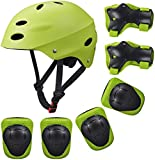 Kid's Protective Gear Set,Roller Skating Skateboard BMX Scooter Cycling Protective Gear Pads (Knee Pads+Elbow Pads+Wrist Pads+ Helmet) (Dark Green)