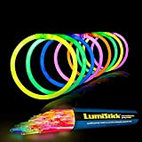 Lumistick 8 Inch 100 Glow Sticks Bulk Party Favors with Connectors | Light Sticks Neon Party Glow Necklaces and Glow Bracelets | Glow in The Dark Party Supplies (Assorted, 100 Glow Sticks)