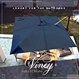 VINEY Banquet 10x10 ft. Square Aluminum Cantilever Umbrella Offset Patio Umbrella Outdoor Market Umbrellas | 360° Rotation & Infinite Tilt | Fade Resistant Solution Dyed Canopy (Classic Blue)