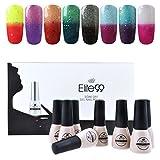 Elite99 Temperature Color Changing Gel Nail Polish Kit 8 Colors, Soak Off UV LED Nail Polish Set Nail Art C041