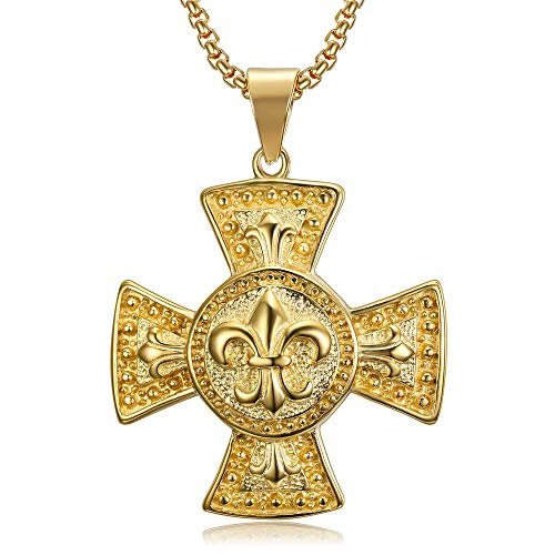 BOBIJOO Jewelry - Médaillon Pendentif Croix pattée Templier Chevalier Fleur de Lys Acier Or Doré