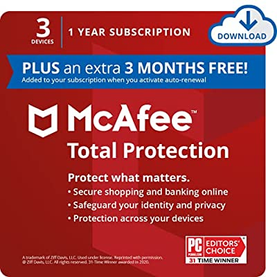 3 MONTHS FREE: 3 extra months added to your subscription FREE, when you activate auto-renewal AWARD-WINNING ANTIVIRUS SOFTWARE: Defend against viruses and online threats with a combination of cloud-based and offline protection for your privacy, ident...